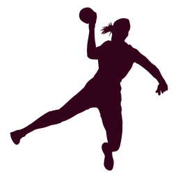 Silhouette woman playing handball