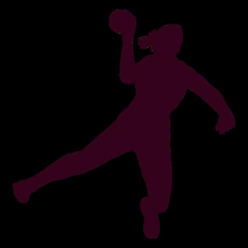 Silhouette woman playing handball