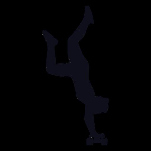 Silhouette woman skater tricks