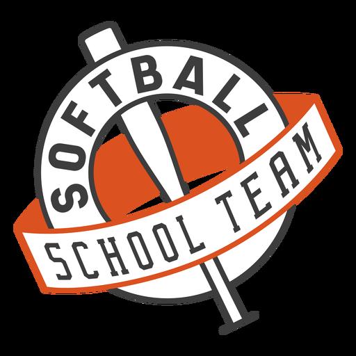 Insignia del equipo escolar de softbol