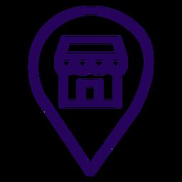 Icono de trazo de ubicación de tienda