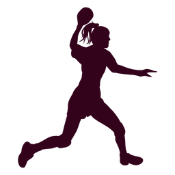 Woman playing handball silhouette