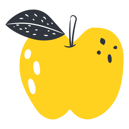 Yellow apple flat Transparent PNG