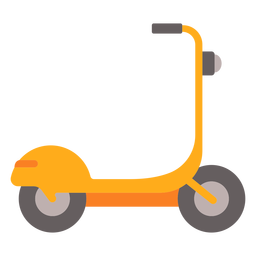 Yellow electric scooter flat