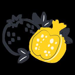 Granada amarilla en rodajas dibujadas a mano