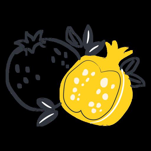 Dibujado a mano granada en rodajas amarillas Transparent PNG