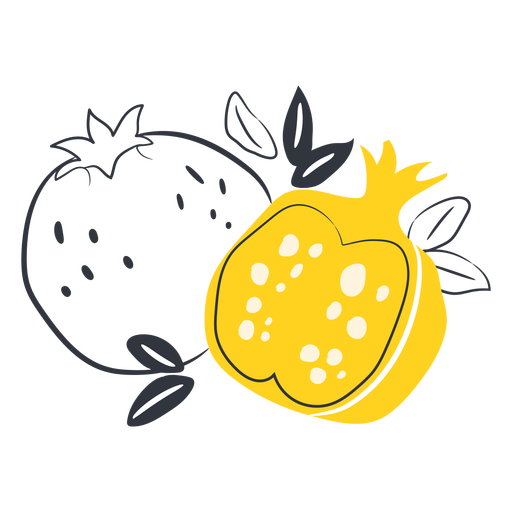 Yellow sliced pomegranate hand drawn