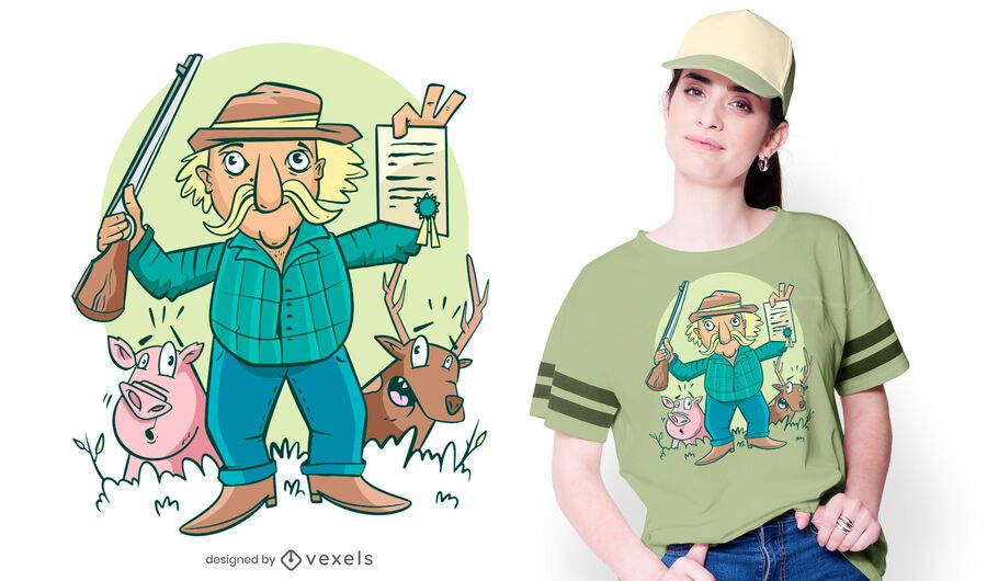 Happy hunter t-shirt design