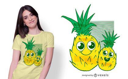 Design fofo de camisetas de abacaxis