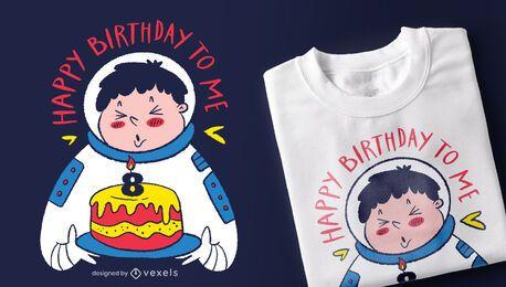 Design de camiseta de astronauta de aniversário