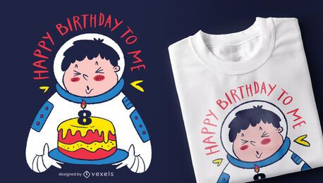 Diseño de camiseta de astronauta de cumpleaños