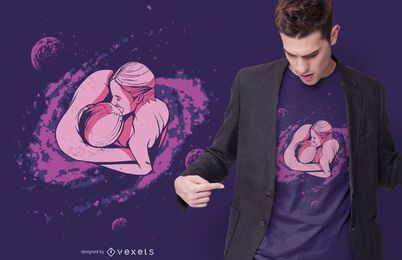 Galaxy beijo design de t-shirt