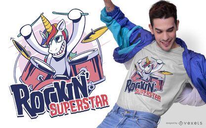 Diseño de camiseta de unicornio superestrella