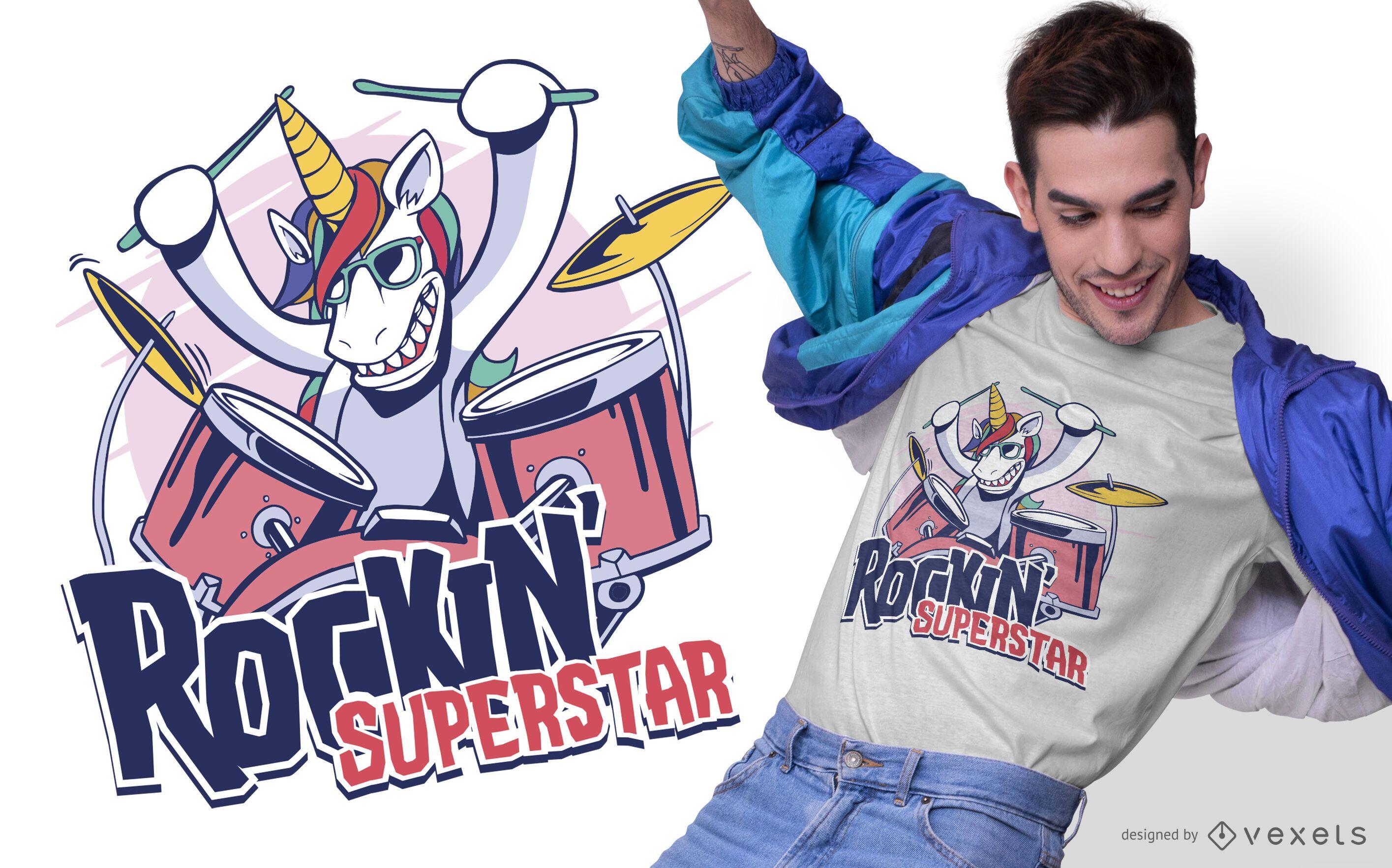 Diseño de camiseta unicornio superestrella