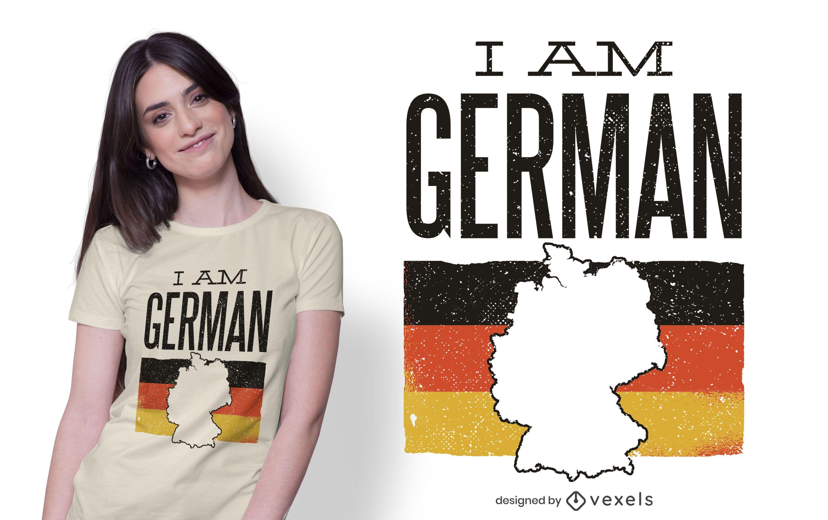 Eu sou alemão design de camisetas