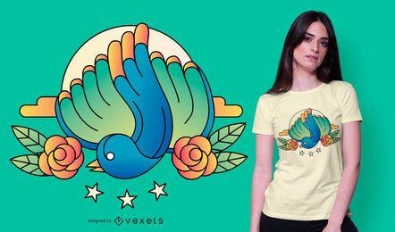 Design de camiseta de emblema de pássaro azul