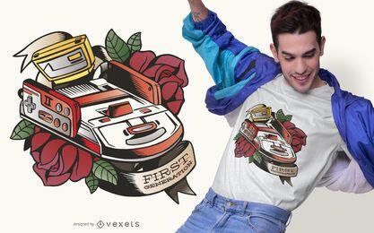 Diseño de camiseta de consola de primera generación