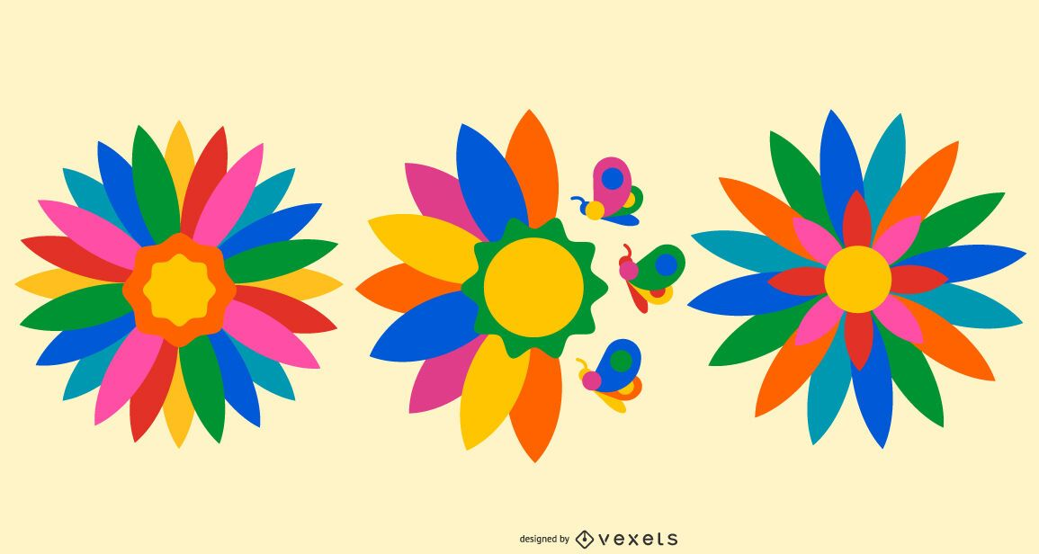 Conjunto de design de flores Otomi