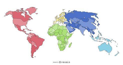 Diseño de ilustración de mapa de continentes del mundo