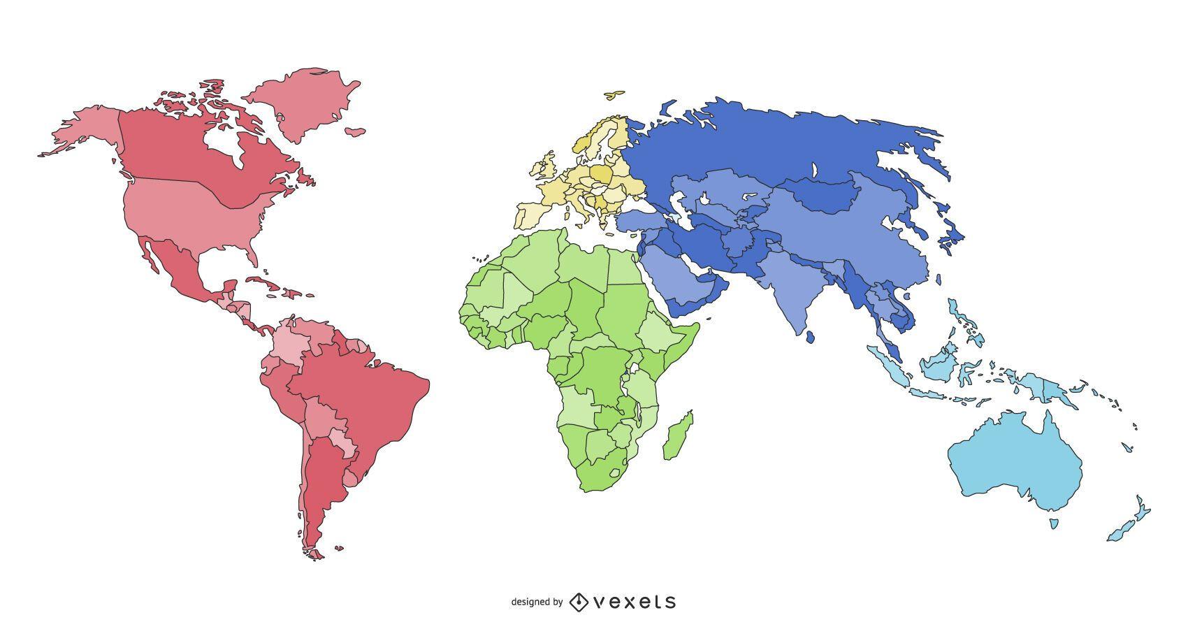 projeto de ilustração do mapa dos continentes do mundo