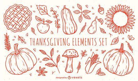 Conjunto de elementos de acción de gracias dibujados a mano