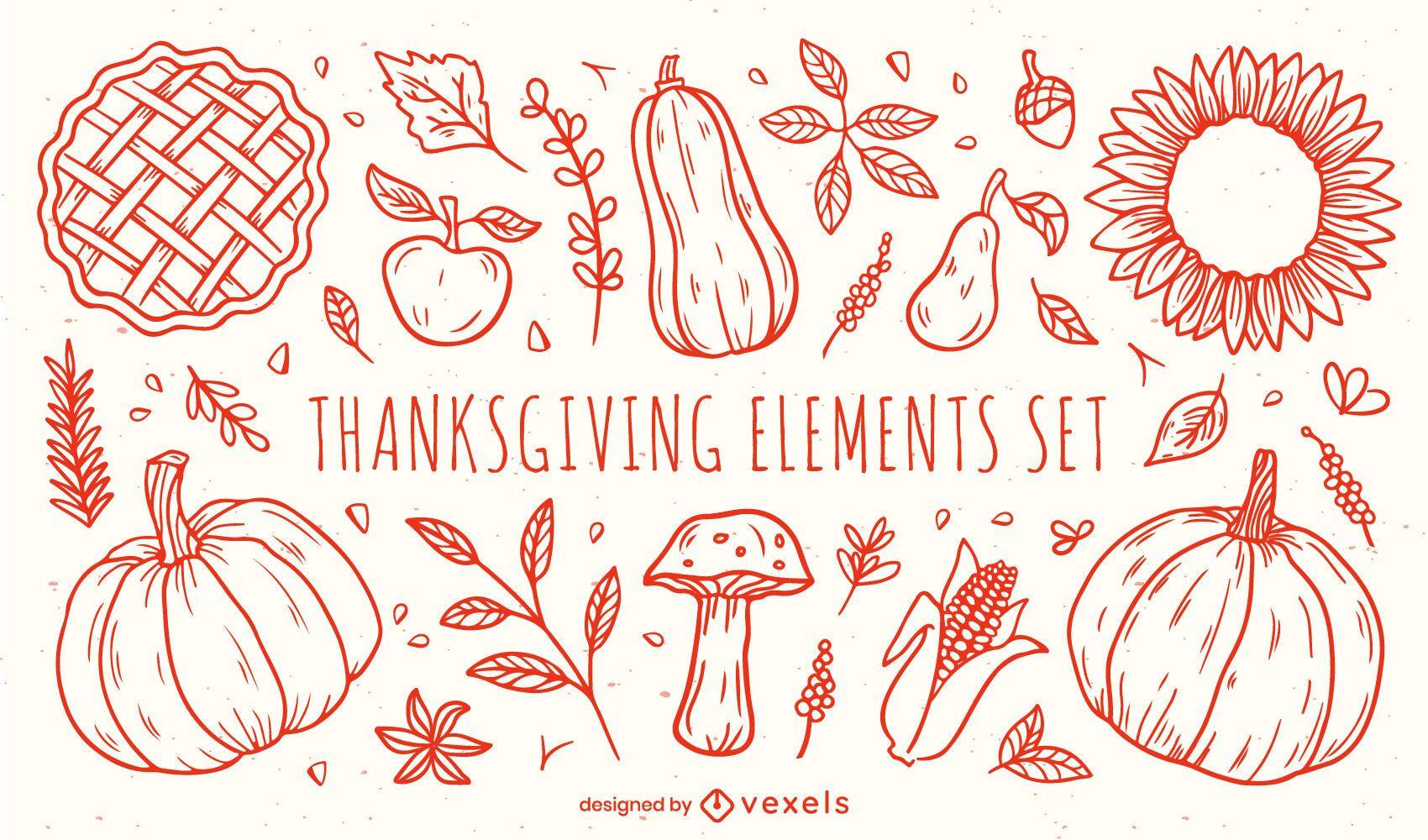 Conjunto de elementos de ação de graças desenhado à mão