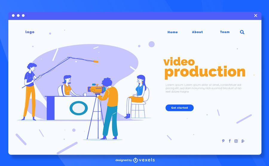 Plantilla de página de destino de producción de video