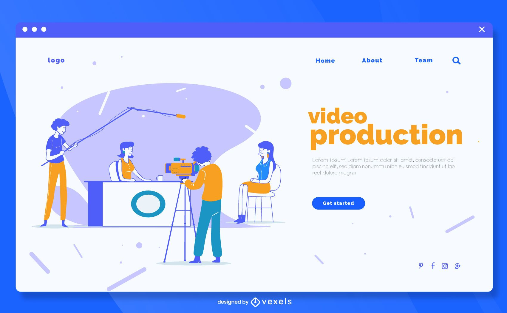 Video production landing page template