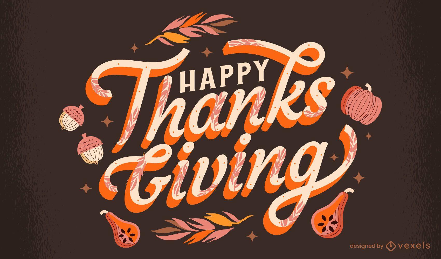 Feliz diseño de letras de acción de gracias