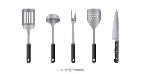 Conjunto de ferramentas de cozinha realista