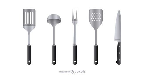 Realistic kitchen tool set