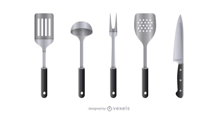 Realistic kitchen tool set