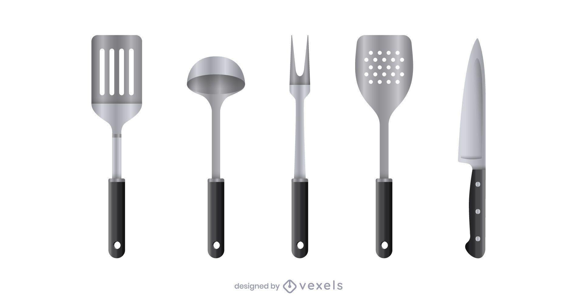 Juego de herramientas de cocina realista