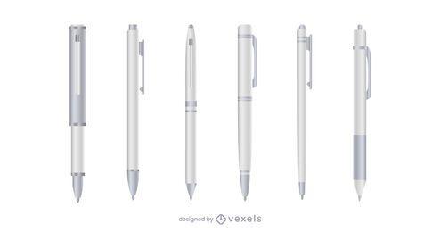 Conjunto de caneta realista branco