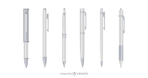 White realistic pen set
