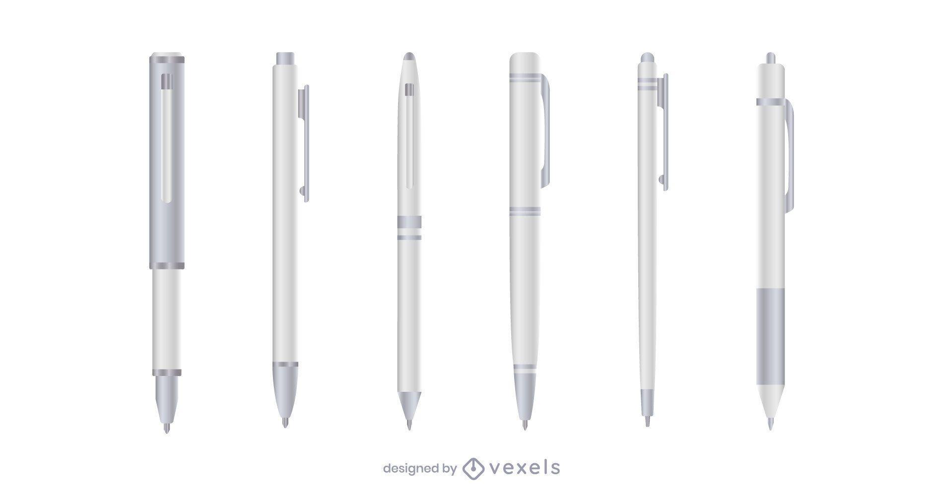 Juego de bolígrafos realista blanco
