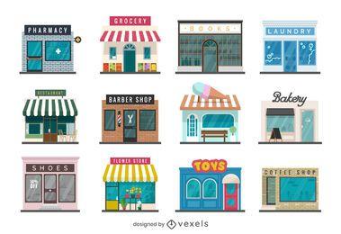 Storefront Flat Design Kollektion