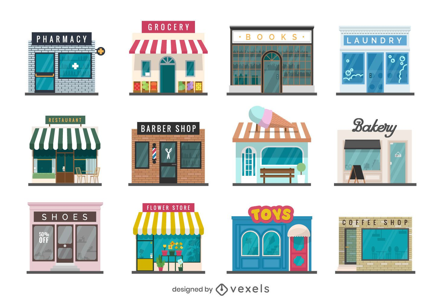 Storefront Flat Design Collection