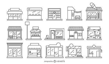 Colección de diseño de estilo de trazo de escaparate