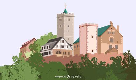 Ilustración del castillo de Wartburg