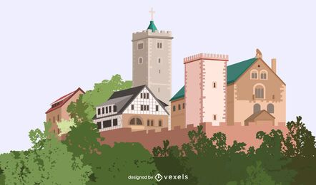 Wartburg Castle Illustration