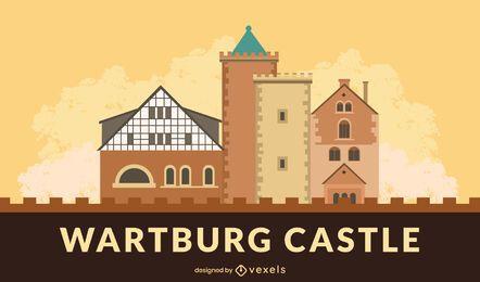 Diseño de banner del castillo de Wartburg