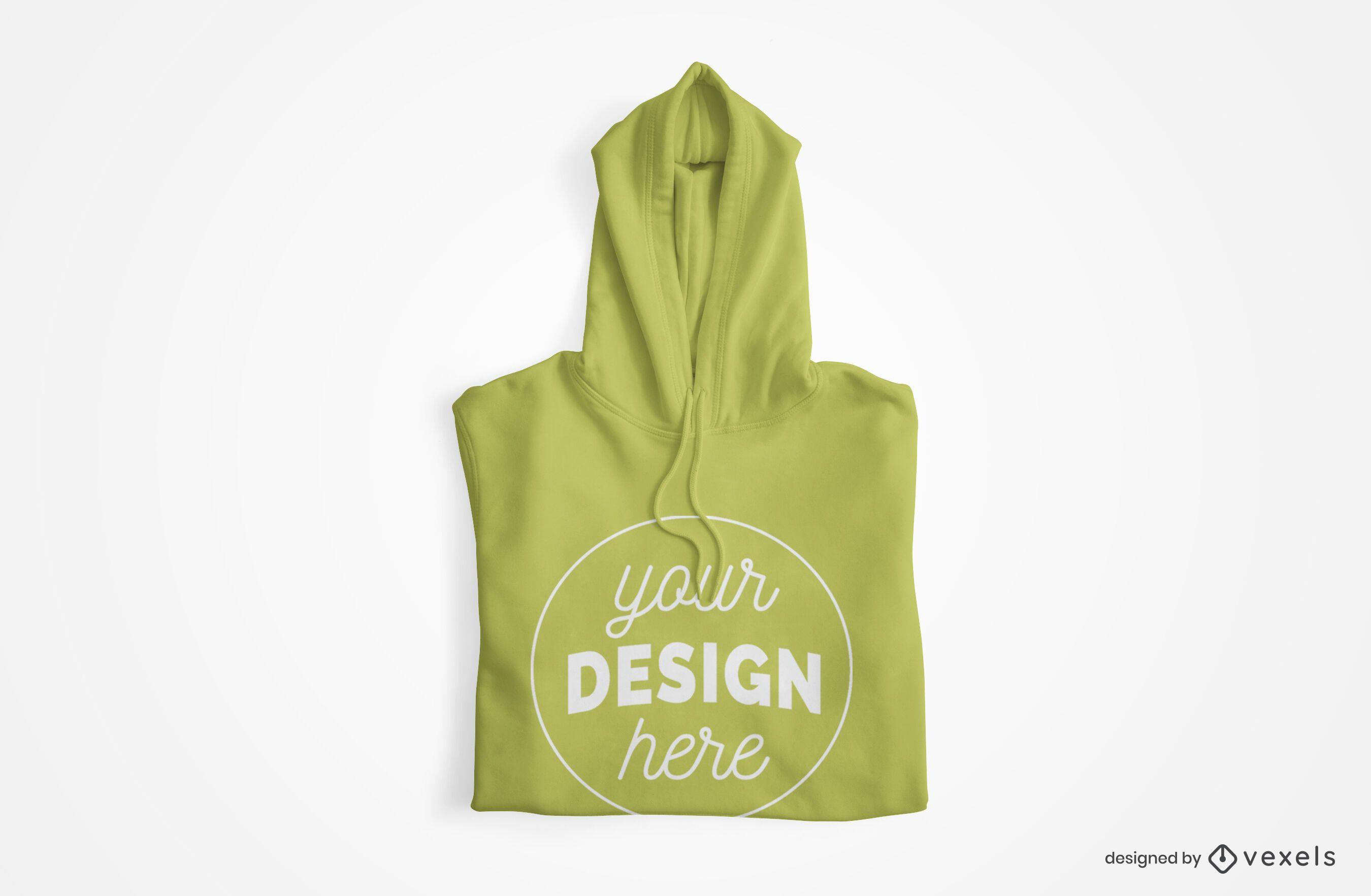 Design de maquete com capuz dobrado