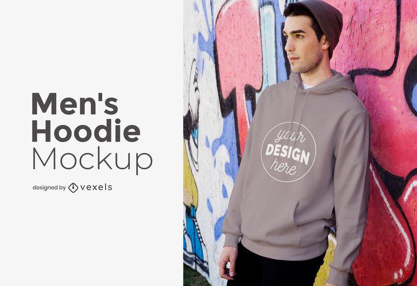 Maqueta de sudadera con capucha modelo para hombres