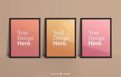 Conjunto de maquetas de póster enmarcado