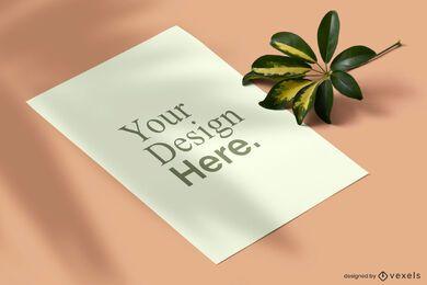 Design de maquete de pôster de natureza isométrica