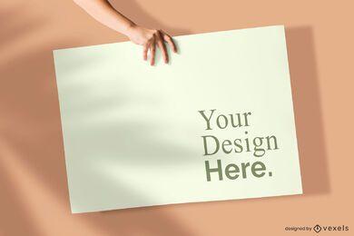 Maqueta de póster de mano