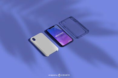 iPhone Case Isometric Mockup Set