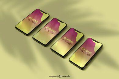Conjunto de diseño de maqueta de iphone