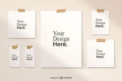 Diseño de conjunto de maqueta de póster grabado